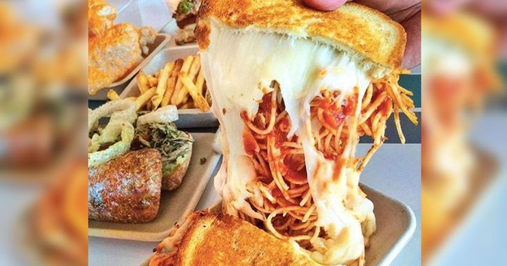 Spaghetti and grilled cheese are a match made in sandwich heaven - burnt crumbs