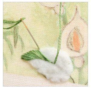 Padded Leaf Shapes for Embroidery. Detached Chain/Lazy Daisy, Satin Stitch, Split Stitch