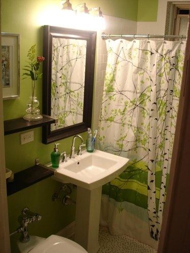 Brown Floating Shelves Green Walls Nice Shower Curtain
