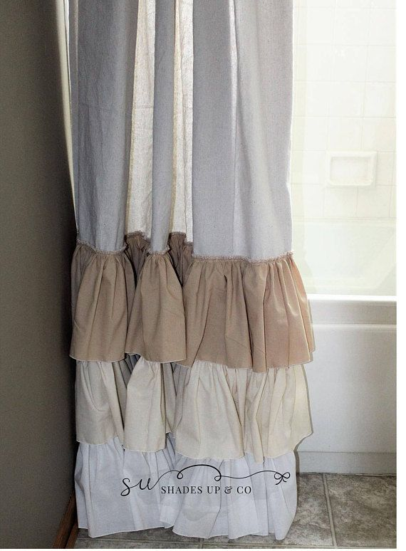 Drop Cloth Painters Cloth Shabby Chic Shower Curtain Ruffled Farmhouse Beach Triple Ruffles in White, Off White, and Tea Dye Muslin