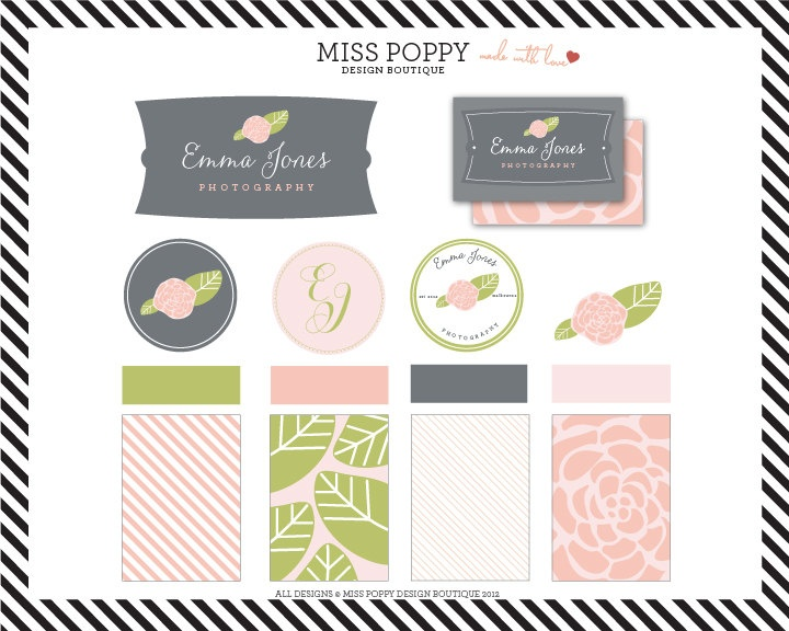 Miss Poppy Design Boutique;  Branding Kit / Marketing / Package / Graphic Design / Logo / Business Cards / Monogram / Pre Made / Pattern / Floral / Flower / Pretty. $110.00, via Etsy.