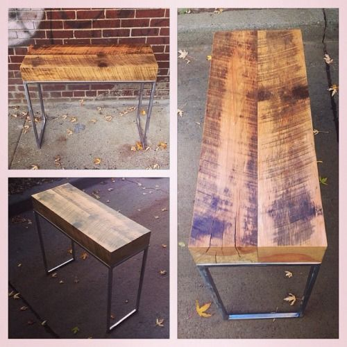 Salvaged, solid oak side table, end table, plants holder, sound system table, etc. etc. Salvaged steel, custom made legs.