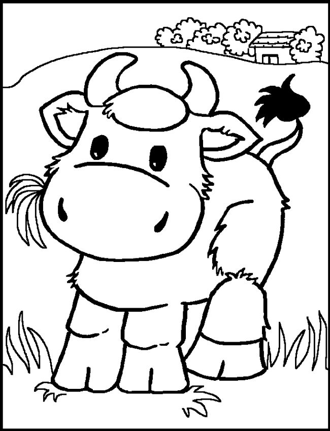 coloring pages for kids cow color page animal coloring pages color plate - Pictures To Colour For Toddlers