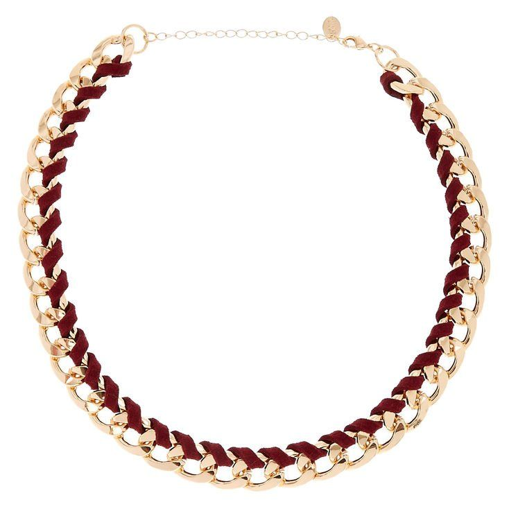 This item brings a fresh new look to chain necklaces. It is wrapped in a burgandy faux suede material that gives an overall softer look yet still makes a statement.