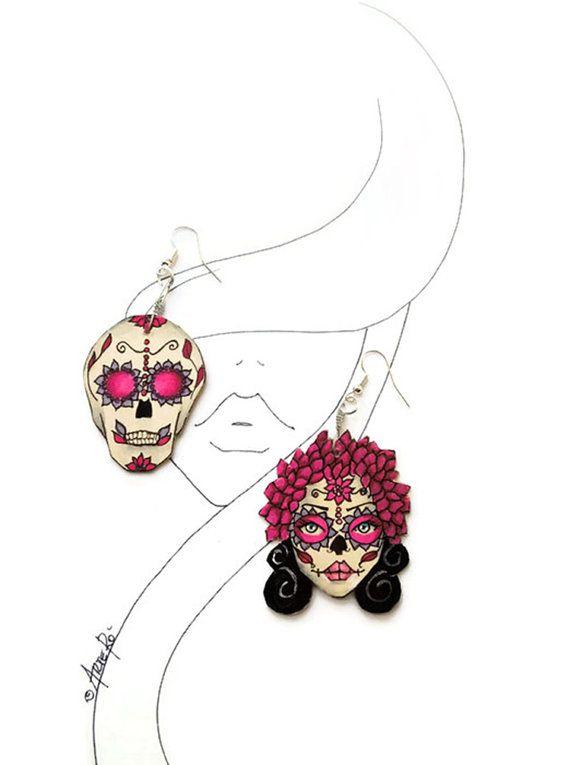 Sugar Skull Earrings Sugar Skull  Paper Sugar Skull by TheRollyS