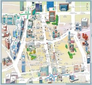 Myeong-dong, Seoul. Map.