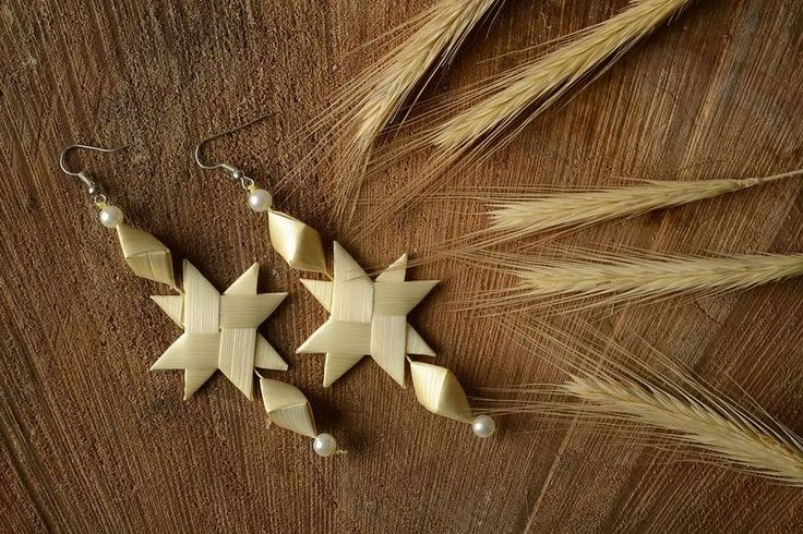 """Beige Ohrringe """"Sterne"""" von Ethnische Geschenke auf DaWanda.com"""