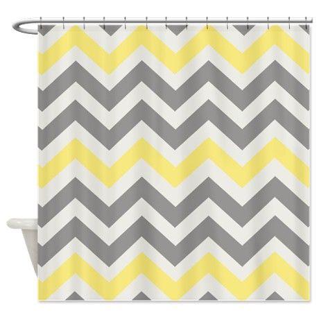 Gray Yellow Chevron Shower Curtain on CafePress.com