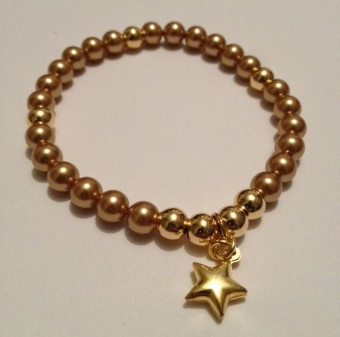 Stunning bracelet handmade by Hannah at Blue Apple Jewellery Gold Swarovski Crystal Pearls & Vermeil Gold. Fashionable, sparkling & perfect for stacking & collecting. www.blueapplejewellery.com