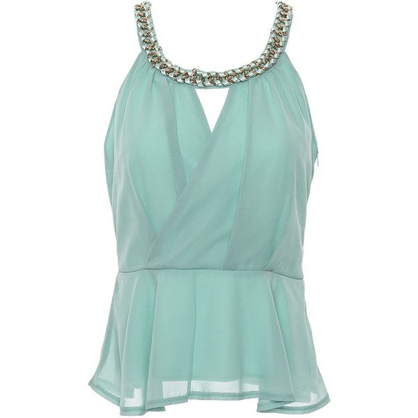 Top Schößchen mint ($27) ❤ liked on Polyvore featuring tops, blouses, shirts, tank tops, blue, mint shirt, green shirt, mint blouse, blue shirt and green top