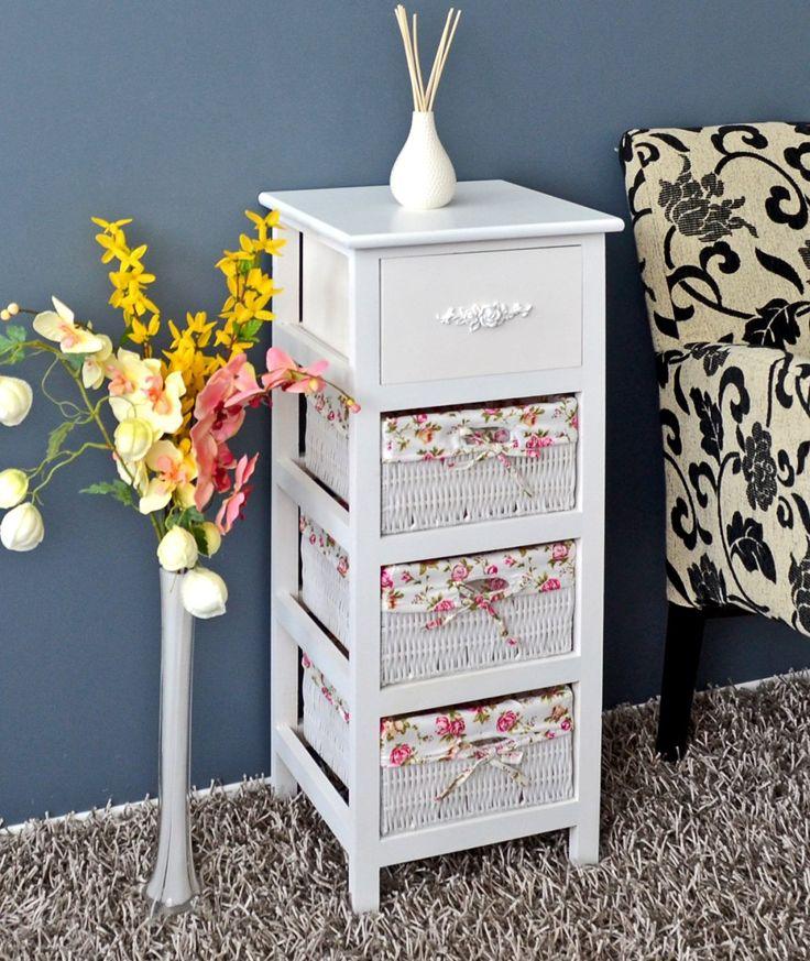 Cómoda en estilo rústico y antiguo, armario estantería en blanco, para baño, mesita de noche con tres cestas en rosado: Amazon.es: Hogar
