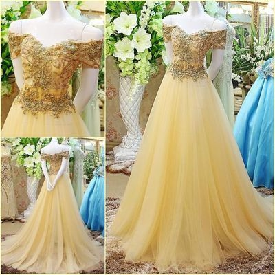New Fashion Yellow Off the shoulder Prom Dresses With Beads Tulle Prom Dress Evening Gowns For Teens by DestinyDress, $217.39 USD
