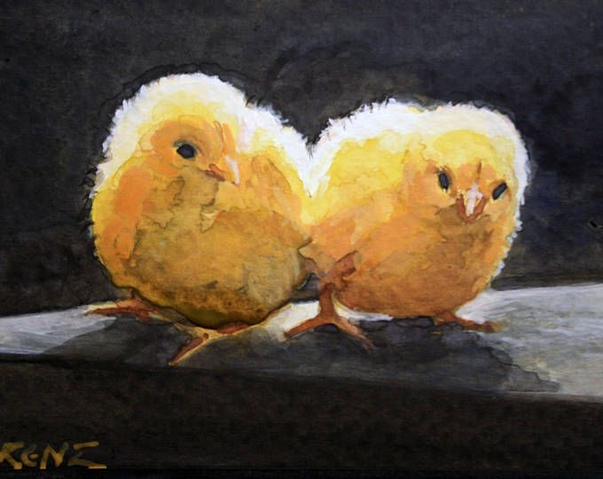 Chicks Watercolor Postcard