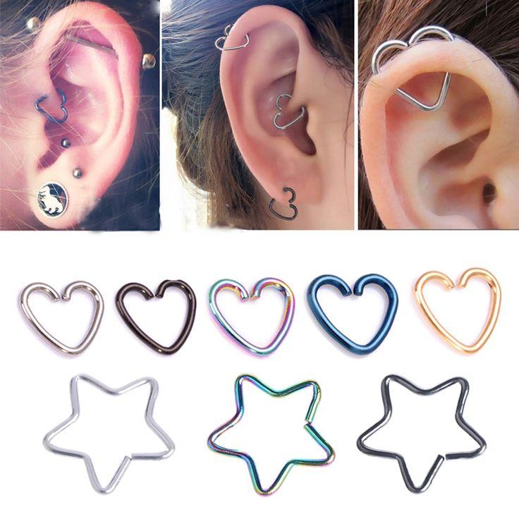 1 PC Coeur/En Forme D'étoile Tragus Piercings Hoop Helix Cartilage Tragus Daith Oreille Goujons Lèvre Nez Anneaux Piercing Argent bijoux