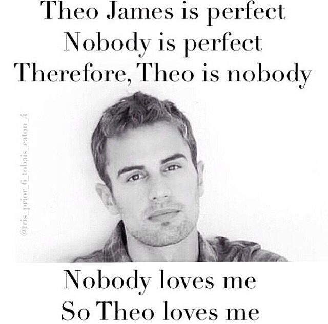 "I have to admit I love the logic... | ""Theo James"" = perfect, and ""Nobody"" = perfect. Equals of an equal are equal, therefore ""Theo James"" = ""Nobody."" ""Nobody"" loves ""me."" Since a quantity can be substituted for its equal in any process, ""Theo James"" loves ""me."" It's all mathematics..."