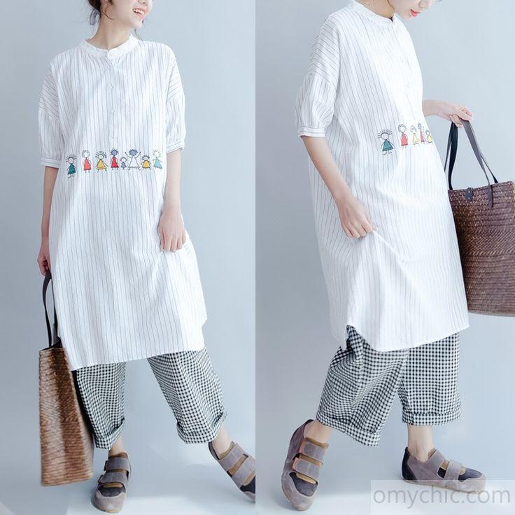 new joyful life striped summer dresses oversize cotton sundress short sleeve shirt dress