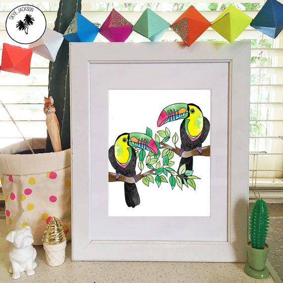 Toucan rainforest tree illustration bright rainbow by SkyeJack