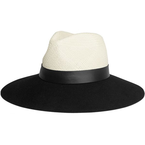 Lanvin Leather-trimmed straw and rabbit-felt fedora (1,150 ILS) ❤ liked on Polyvore featuring accessories, hats, black, ribbon hat, wide brim felt fedora, lanvin, straw hat and rabbit hat