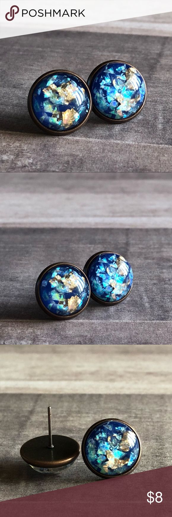 """🆕Blue Opal Gold Metal Foil Bronze Stud Earrings! New, Handmade by Me! 🆕Style! Opal Stone mixed with Gold Metal! Listing in White, Black & Dark Blue; This listing is for the Blue Stone in Copper Post Backs; Approx. 12mm or 1/2"""" Size; Can make in any Style Back Shown!📸These are my pic's of the Actual items!  ▶️1 For $8, 2 For $13, 3 For $15!◀️  ▪️3-$15 is only for items listed as such▪️ ▪️Post Back for Pierced Ears ▪️Nickel, Lead & Cadmium Free  *NO TRADES *Price is FIRM as Listed!  *Sales…"""