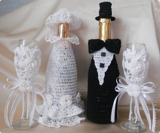 crocheted bride & groom wedding wine bottle cover idea