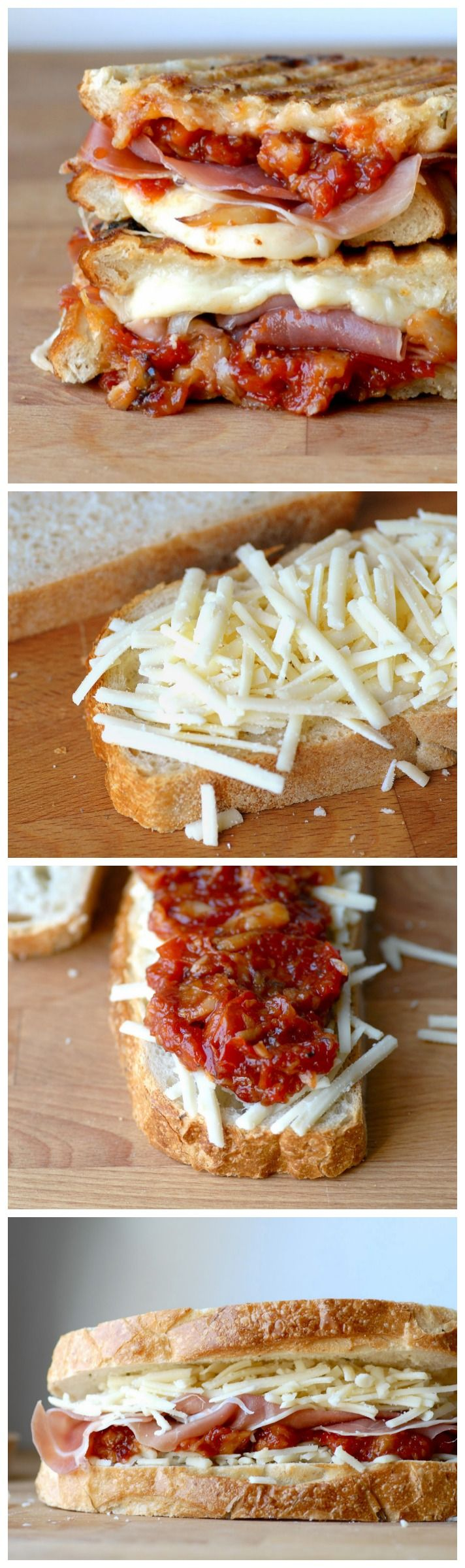 Gruyere, Serrano Jamon, Candied Garlic and Tomato Chutney Grilled Cheese Sandwich #recipe #grilledcheese