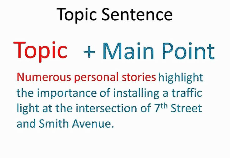 how to write topic sentences How to write an effective topic sentence when you write an academic paragraph in english, you should probably start by writing the topic sentence.