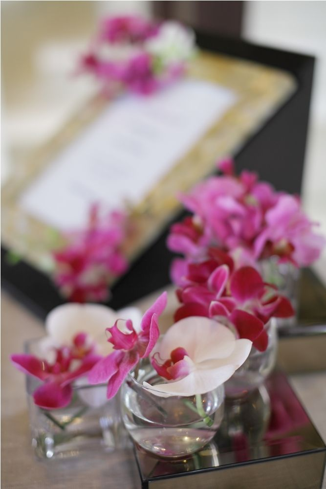 Pink and white Orchid - registration table by Tirtha Bridal Uluwatu Bali