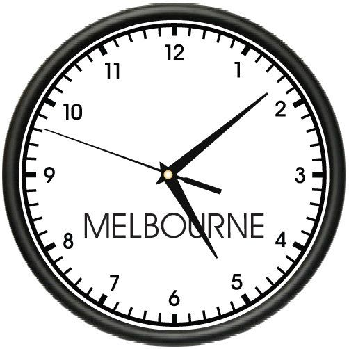 MELBOURNE TIME Wall Clock world time zone clock office business