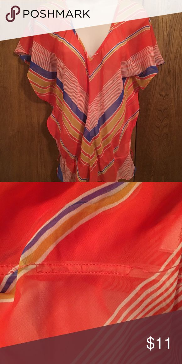 """Coral/Orange Striped Top Sheer, striped in coral, yellow, blue and white. Bought from a local boutique and worn once. Batwing-style sleeves and an elastic bottom. As shown in second pic, stitching is separated from elastic in a couple of places, but like I said, I wore it once...it was probably like that when I bought it. 26"""" long. 100% polyester. Dolled Up Tops Blouses"""