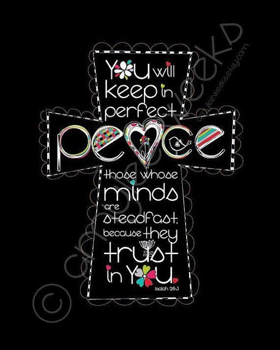 Scripture Art, Keep In Perfect Peace, Christian art print (size- 5x7)