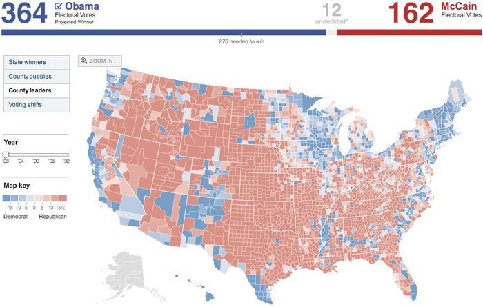 NY Times County-by-County 2008 Election Map