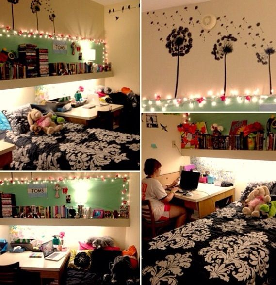 Cute dorm room ♡  College  Pinterest  Turquoise, Cute  ~ 054541_Aqua Dorm Room Ideas