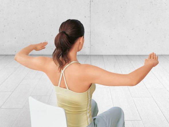 Schulterformer  Mit dieser Übung stärken Sie Ihre Schulter- und Nackenmuskulatur. Dies ist vor allem wichtig für den oberen Rücken und allen Bewegungen des Kopfes.