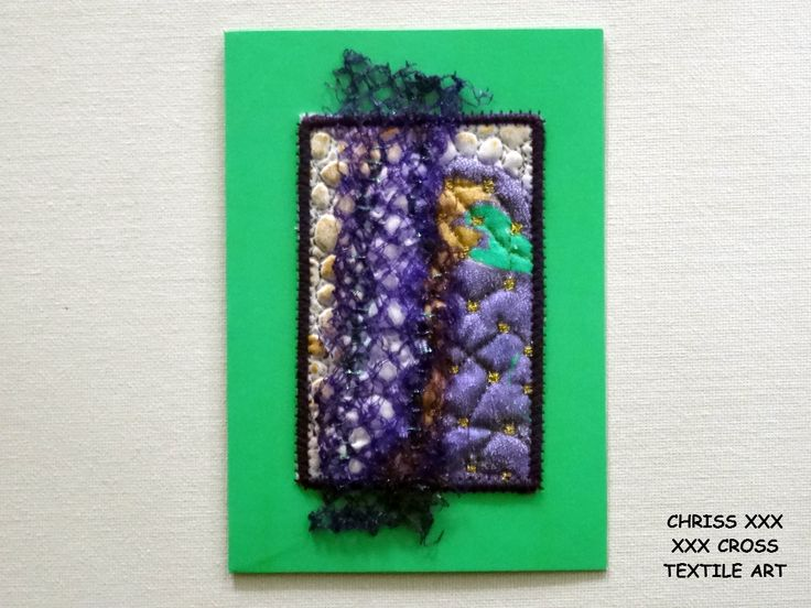Kunstkaart / Mail Art van Kunst per post Afmeting kaart: 10,5x15cm (bxh) Afmeting kunstwerk: 6,5x10,5cm (bxh) Kleur: groen - paars