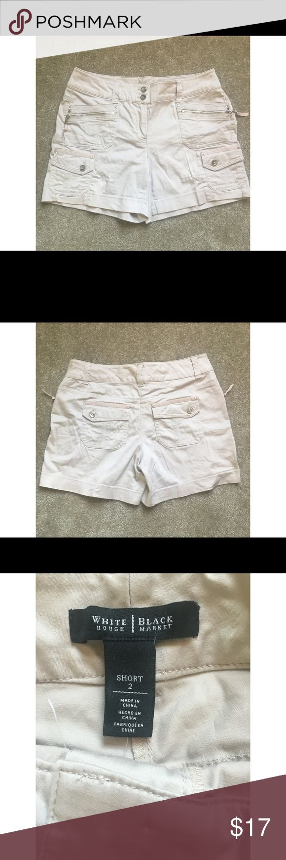 Super cute White House black market cream shorts White House black market cream shorts! Adorable! Size 2 short. Never worn no tags. White House Black Market Shorts