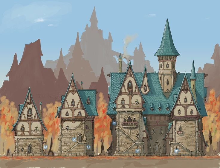 Everquest Next/Landmark Workshops concept Art- Architectural styles, Benoit Bernard on ArtStation at https://www.artstation.com/artwork/NJO2P
