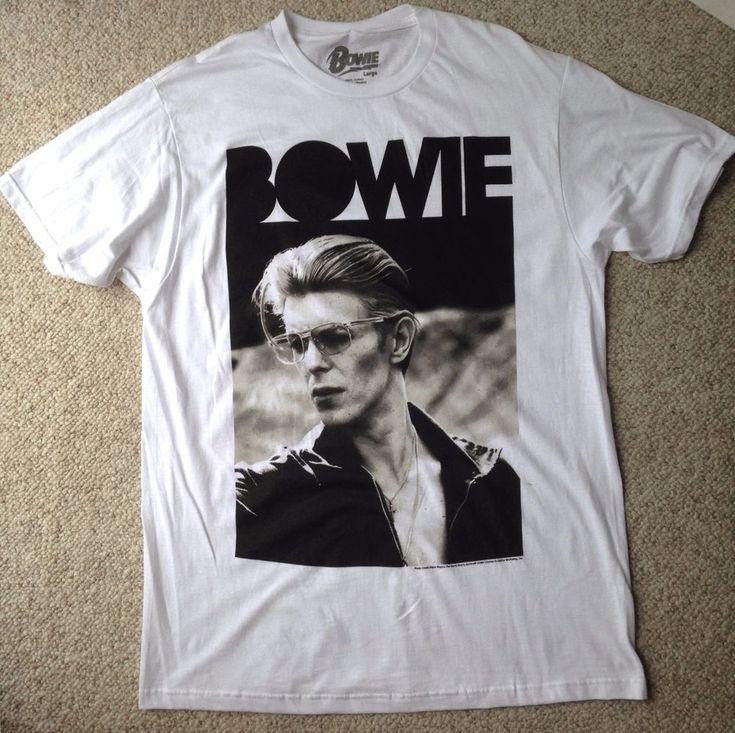 NEW replica vtg DAVID BOWIE T-SHIRT Big Logo White&Black 80s Music Retro MEN LRG #Bowie #GraphicTee