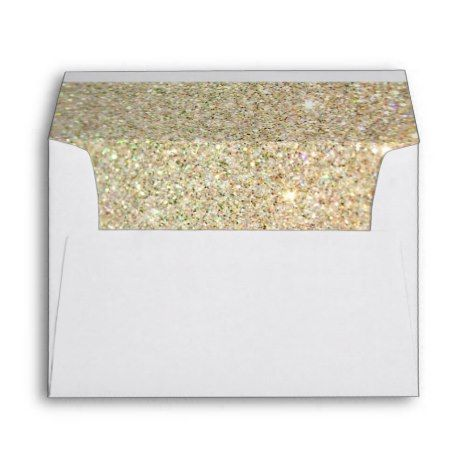 Gold Glitter Sparkles Pink Floral Wedding 5x7 Envelope - get yours tap/click now!
