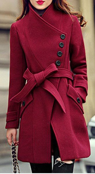 Elegant Stand Collar Candy Color Belt Design Long Sleeve Coat For Women