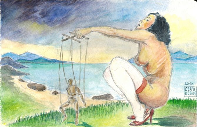 La marioneta, 2018 (Opus 04/2018) - Acuarela sobre papel. The puppet, 2018 - Watercolour. La marionnette, 2018 - Aquarelle sur papier