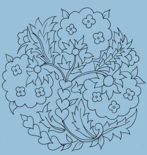 That's interesting, lends itself to lattice filling on those big flowers with satin stitch mini flowers
