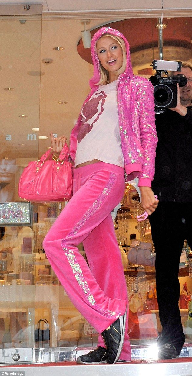 Socialite Paris Hilton wore a sequin-covered Juicy Couture tracksuit in 2008, in Tokyo, th...