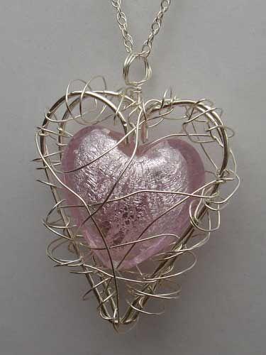 Baby Pink Venetian Glass Heart Handmade Silver Cage