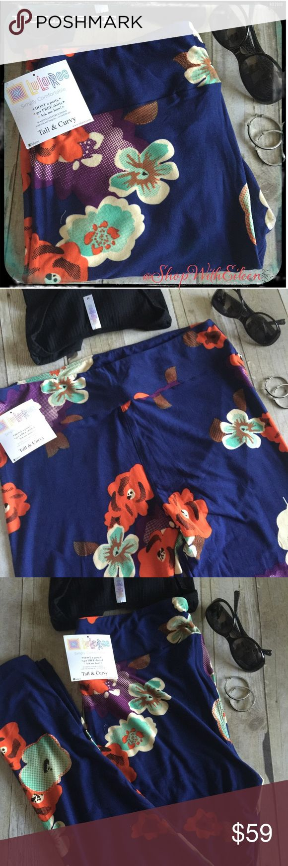 LulaRoe Royal Blue Floral Bunch TC Leggings!  LulaRoe Royal Blue With Flower Bunches TC Leggings! OMG! Flowers are so much fun! These are a royal blue background with bunches of flowers that are purple, orange & teal! Fun!  These are made in Indonesia. * I am not a consultant… I am just a LulaRoe addict and love the hunt to find great prints! Enjoy!  LuLaRoe Pants Leggings