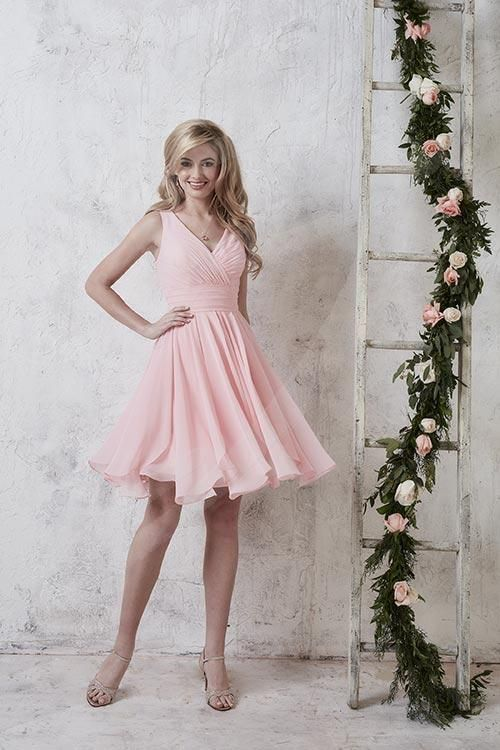 Balletts Bridal - 23453 - Bridesmaids by Jacquelin Bridals Canada - Dress for the perfect memory in a short chiffon gown with pleated skirt, waistband, and tank-style bodice.