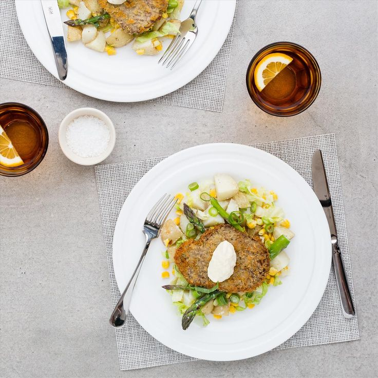 Beef Schnitzel with Horseradish Potatoes and Asparagus