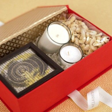 Gourmet, Coaster & #CandleBox - Our signature red box with a festive cashew, six #zardozicoasters, and an #aromaticcandle.