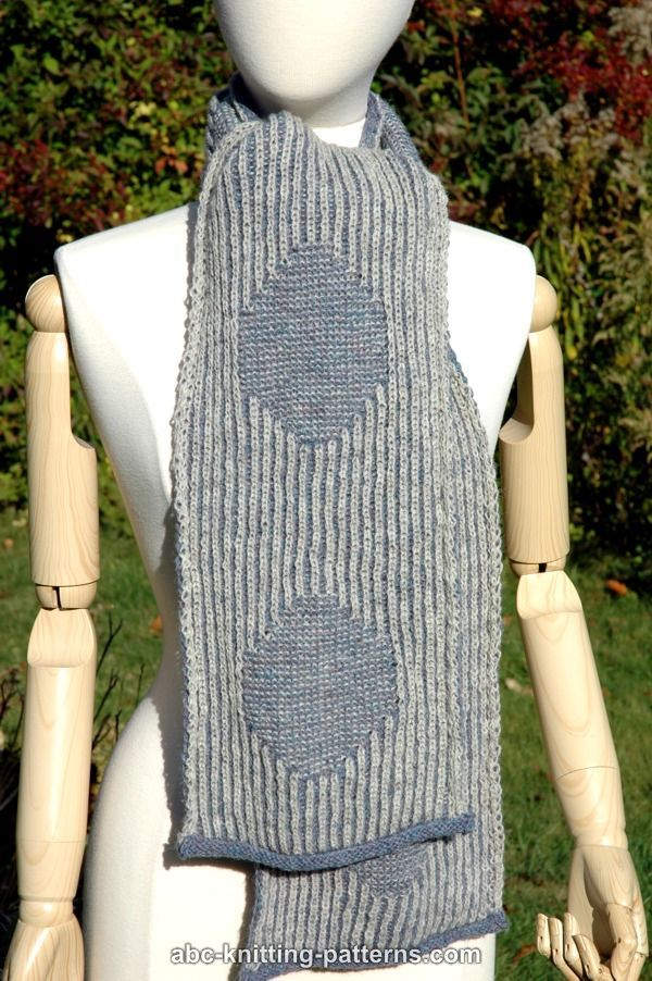 ABC Knitting Patterns - Connecting the Dots Brioche Scarf