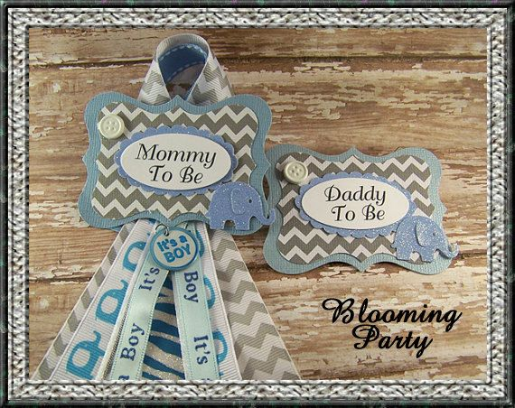 Set of Blue Elephant Mommy To Be Badge and Daddy To Be Badge Blue and Gray or Grandma To Be Baby Shower Badge Elephant Baby Shower Badge