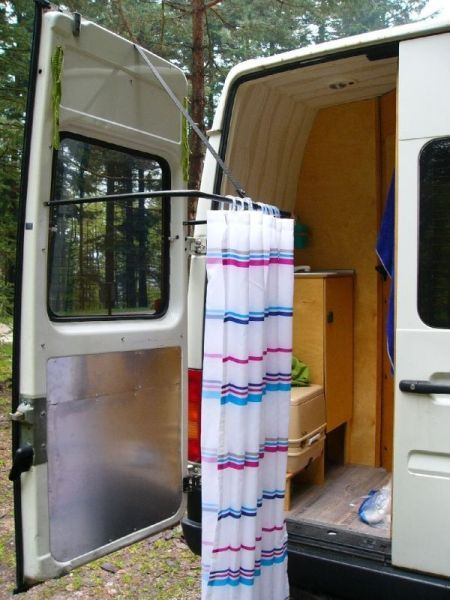 Mehr Shower Cubicle On Back Door Of Van